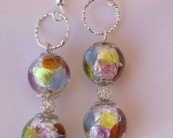 """Collection """"arcobaleno"""" multicolor and silver foil Murano glass - earrings."""