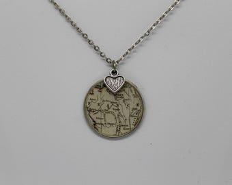 France map pendant necklace ; vintage inspired