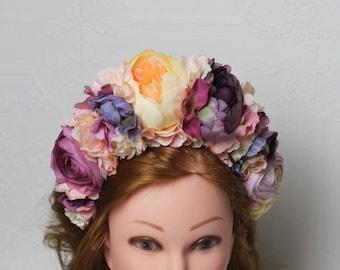 Purple flower crown Adult flower headband Floral halo large Peony wreath Fairy costume Boho bridal headpiece Rustic wedding floral crown