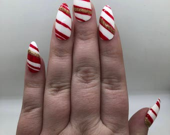 Candy Cane Red Gold Sparkly Fake Nails | Press On | Glue On Nails | Different Shapes