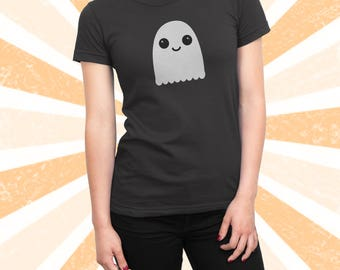 Kawaii Ghost Shirt - Halloween T-shirt - Cute little friendly Ghost - Funny Tshirt - Women's and Men's Short Sleeve Cotton Tee - Spooky