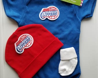 LA clippers baby oufit/baby clippers/LA clippers baby shower gift/newborn la clippers/baby la clippers/la clippers newborn