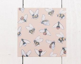 Bumblebee Pattern - Blank Square Greeting Card