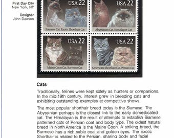Cat Feline Breeds POSTAGE STAMPS 1988 UNUSED Siamese Abyssinian Himalayan Burmese Persian Maine Coon