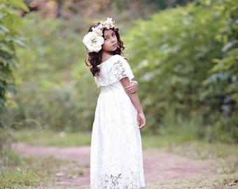 White Flower Girl Dress, Boho Dress, First Communion Dress, Bohemian Dress, Girls Lace Dress, Girls Maxi Dress, Vintage Lace Dress