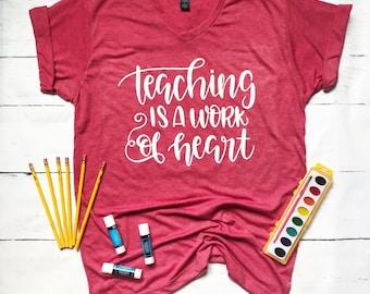 School Teacher Shirts-School Teacher Gift-School Teacher Tshirts-Home School Shirts-Teaching is a Work of Heart-Mama Joy Collection
