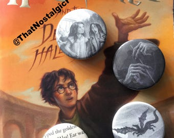 Harry Potter Book Buttons • Hogwarts • Severus Snape • Always • Elder Wand • Deathly Hallows • Fandom • Jewelry • Potter pins • gryffindor