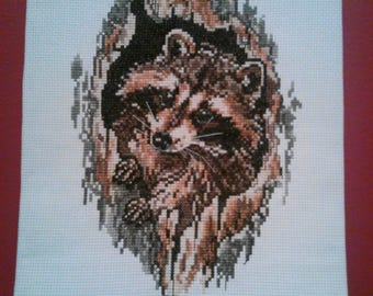Completed CrossStitch - Raccoon