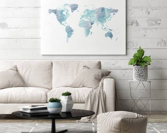 World map canvas etsy blue watercolor world map canvas art blue canvas world map canvas blue world map gumiabroncs Images