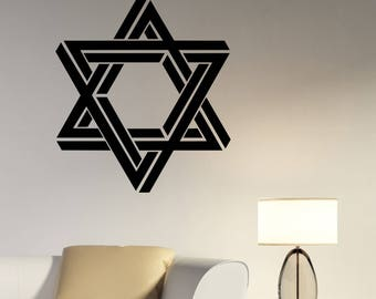 Star of David Wall Decal Optical Illusion Vinyl Sticker National Sign Symbol Jewish Art Decorations for Home Room Bedroom Jewry Decor ds2