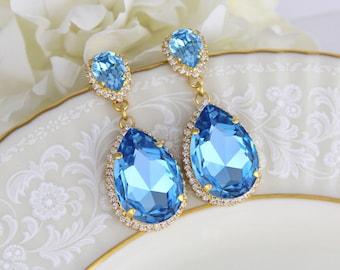Gold Bridal earrings, Wedding earrings, Bridal jewelry, Blue crystal earrings, Bridesmaid jewelry, Swarovski earrings, Statement earrings