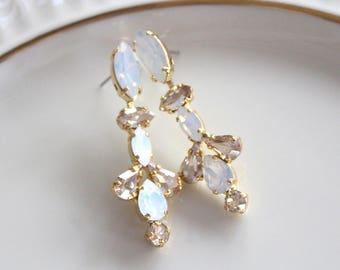 Crystal Bridal earrings, Long Wedding earrings, Bridal jewelry, White opal earrings, Long earrings, Gold earrings, Vintage Dangle earrings