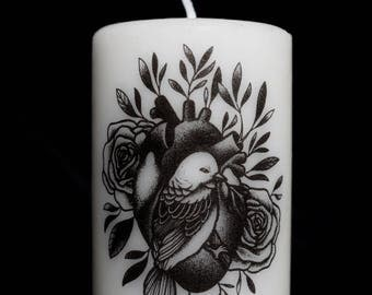 SMALL candle model / heart bird