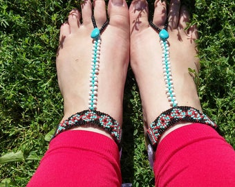 Barefoot Sandals- Seed Bead Jewelry- Statement Jewelry- Tribal Fashion- Foot Jewelry- Beach Jewelry- Beach Wear- Sandals- Gift for a Friend