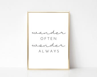 Wander Often Printable Art, Printable Wall Art Print,Typography Print,Wall Print Quote,Inspiration Quote,Digital Print,Instant Download