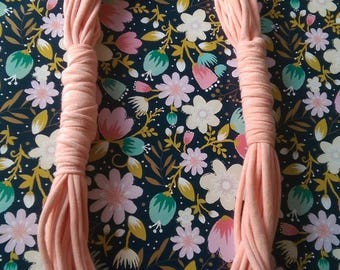 Peach coloured t-shirt yarn necklace