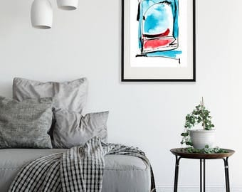 Abstract Watercolor Print Turquoise Red Wall Art Forma 4 Srains Minimalist Art Painting Download Printable Poster Modern  Minimal Decor
