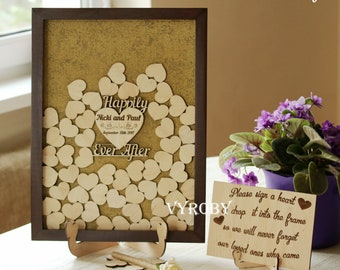 Guest book wedding alternative Heart shadow box guest book shower Happily ever after sign guestbook Drop box frame Creative guest book ideas