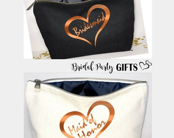 Bridal shower gift  Personalized - Bridesmaid cosmetic bag- bridesmaid gift- Wedding favors- Bridal gift - Zipper pouches - Weddings- Makeup
