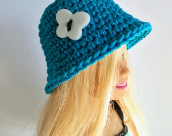 Turquoise Barbie doll cloche hat with white butterfly, fashion doll hat, clothes