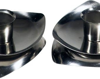 Pair of stainless steel candle holders