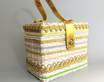 easter parade / 1960s white wicker box purse with colored ribbons