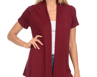 Short Sleeve Open Front Vest Burgundy