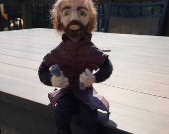 Tyrion Lannister inspired needle felted portrait doll. Game of Thrones,  made of wool, GOT, Peter Dinkalage, ' Pays his debt ' free shipping