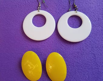 Totally 80's Party Earrings! Classic Throwback-Large White Plastic Hoop Earrings and Large Yellow Metal Stud Earrings! Both for Pierced Ears
