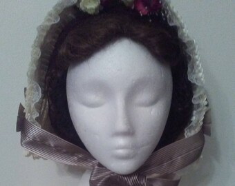 Victorian Ivory Straw Low Spoon Bonnet
