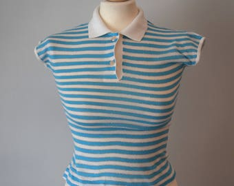 80s Vintage Stripped Polo Top / Sky Blue, White, Silver / Short Sleeves / Summer Clothing / Woman's Clothing / XS