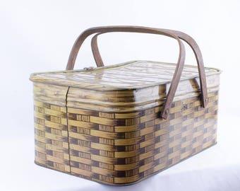 Vintage Tin Picnic Basket  Circa 1930's