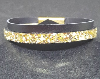 "Bracelet leather women ""Black gold"""