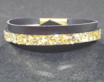 "Bracelet leather women ""Black gold"""