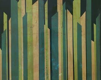 Green, Teal, and Beige Original Abstract Contemporary Geometric Reeds Acrylic Painting by Jake Trujillo. 16 x 20 inches.