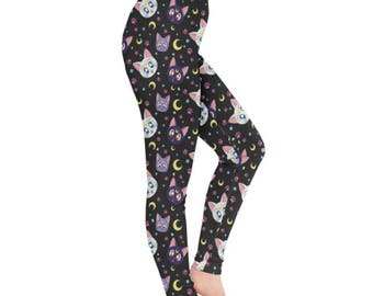 Sailor Moon Cat Leggings - Sailor Moon Leggings Anime Leggings Plus Size Leggings Cartoon Leggings Luna Artemis Diana Leggings