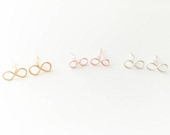 Bridal Earrings, Bridesmaid Stud Earrings, Bridesmaid Jewellery, Infinity Earrings, Post Earrings, Bridesmaid Gift, Wedding Jewellery