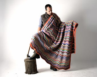 Blanket, Wool Blanket, Handmade afghan, crocheted blanket, King size blanket, Colorful blanket, home decor, Bedding, Big blanket,