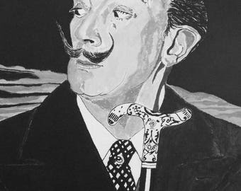 Salvador Dali portrait hand finished print from original painting A Glasgow Affair