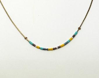 Necklace Choker necklace snake chain of brass and turquoise, yellow, green Miyuki beads metallic, bronze and white.