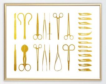 Medical Tools, Poster, Room Decor, gift, wall art,medical art, gold foil, gold, digital download,printable wall art