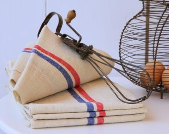 French linen tea towels - blue and red stripe