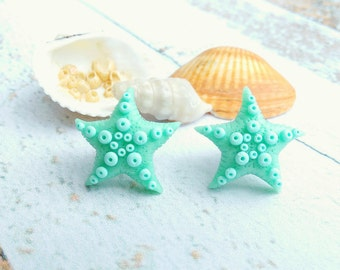 Beach jewelry gift Starfish Ocean jewelry Sea gift Nautical gifts Summer gifts Party earrings Beach party Children jewelry Mint jewelry