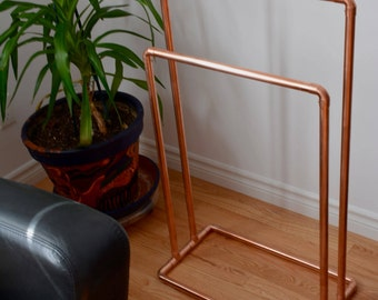 Copper Blanket Stand or Towel Rack, Free Standing