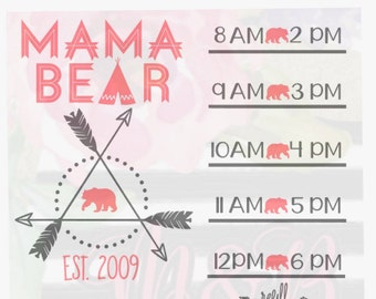 MAMA BEAR water bottle (decal only)/accountability water bottle decal, Mama Bear motivational water bottle decal with hourly time tracker