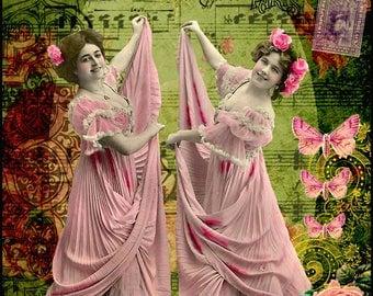 2 Girls in Pink Vintage, Collage Altered Art Ephemera Altered Art, Instant Download, Digital Original Sheet
