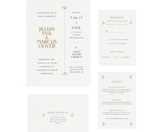 Tenor: Instant Printable Invitation Wedding Template, Editable PDF Instant Download, Invitation Suite, Art Deco Wedding Invitation,