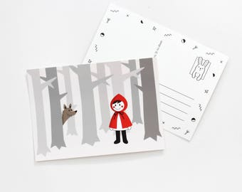 Postcard - red riding hood - fairy tail post card