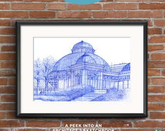 Allan Gardens | BluePrints | Hand drawn sketch of an architectural icon