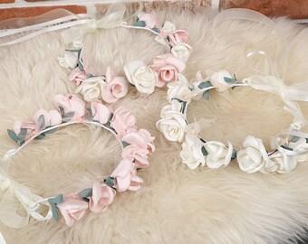 3color Flower Crown,Bridal Flower Crown,Girls Flower Headband,Flower headband,Flower Crown,Flower Girl Crown,Rustic Wedding,ribbonnkids